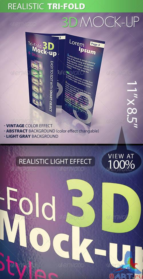 GraphicRiver Tri-fold 3D Mock-up Pack