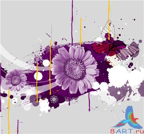 PSD - Abstract Floral Pink Theme