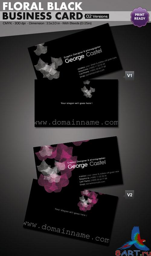 Floral Black Business Card Template