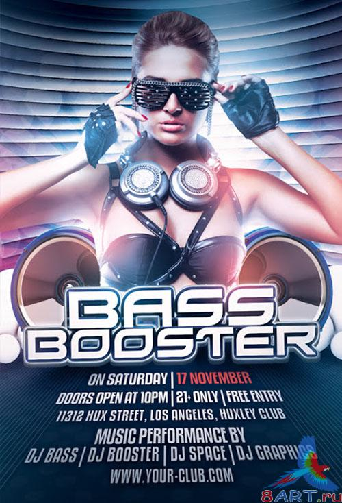 Bass Booster Party Flyer/Poster PSD Template