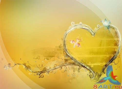 PSD - Gold Hearts Template
