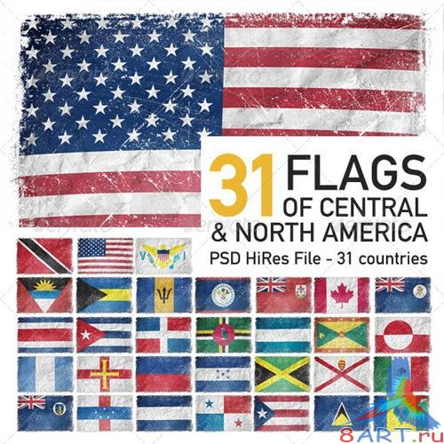 GraphicRiver Central & North America Flags (31 Countries)