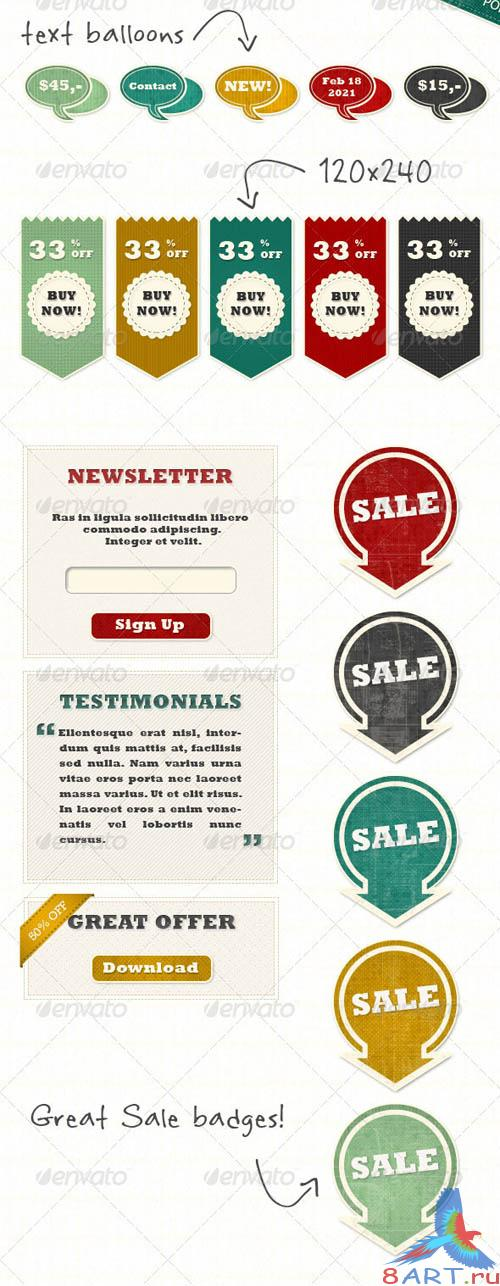 GraphicRiver Extended Set of Retro Vintage Web Elements