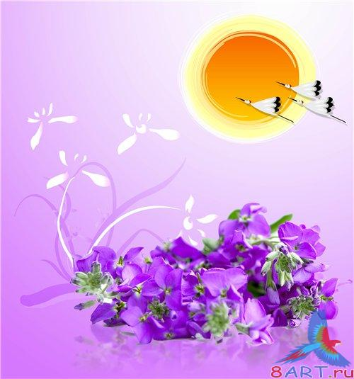 PSD - Violet Flowers on Purple Background