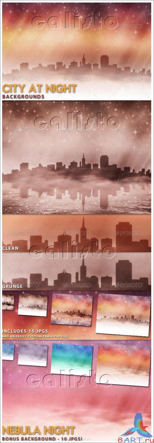 City at Night Backgrounds - GraphicRiver