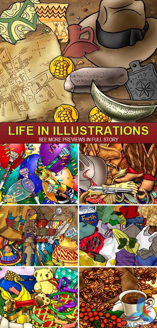 PSD Source - Life in illustrations