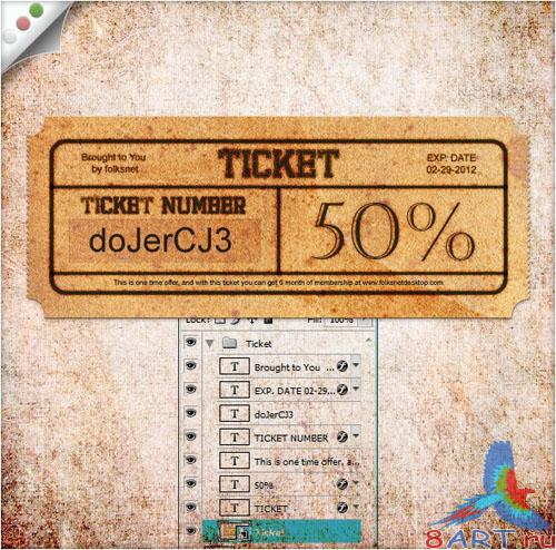 PSD Template - Retro Ticket