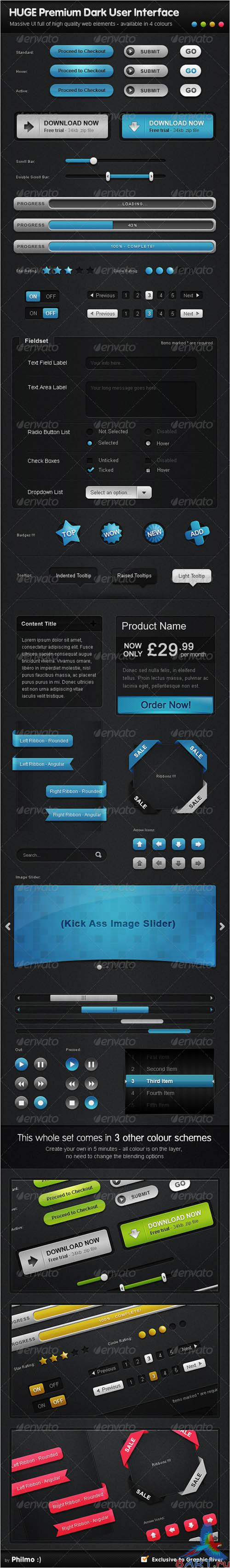HUGE Premium Dark User Interface UI - 4 Colors [GraphicRiver]