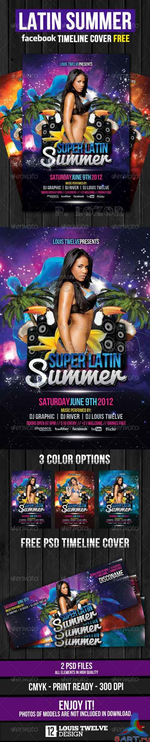 Graphicriver Latin Summer Party Flyer + Facebook Timeline