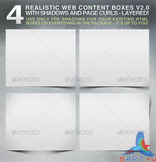 4 Realistic Web Content Boxes, Shadows & Pagecurls - REUPLOAD