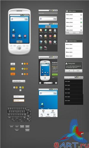 PSD телефона - Android GUI PSD Vector Kit