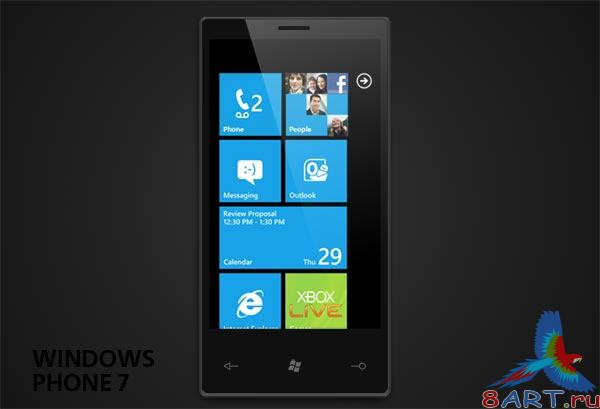 Windows Phone 7 PSD-template