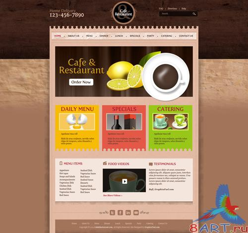 Cafe & restaurant website PSD template