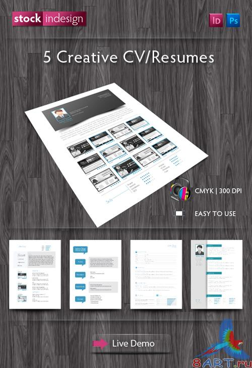 5 Creative Resumes InDesign Templates