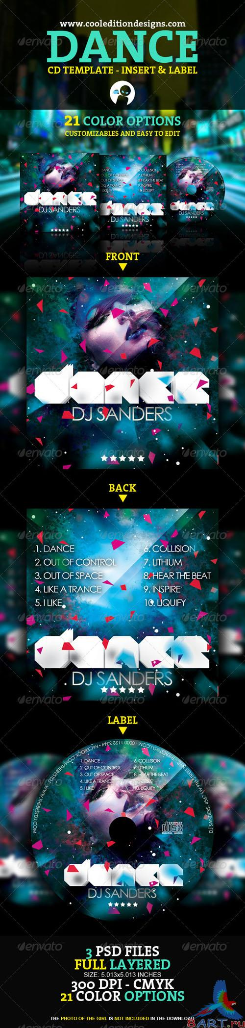 GraphicRiver - Dance CD Insert and CD Label 1608023