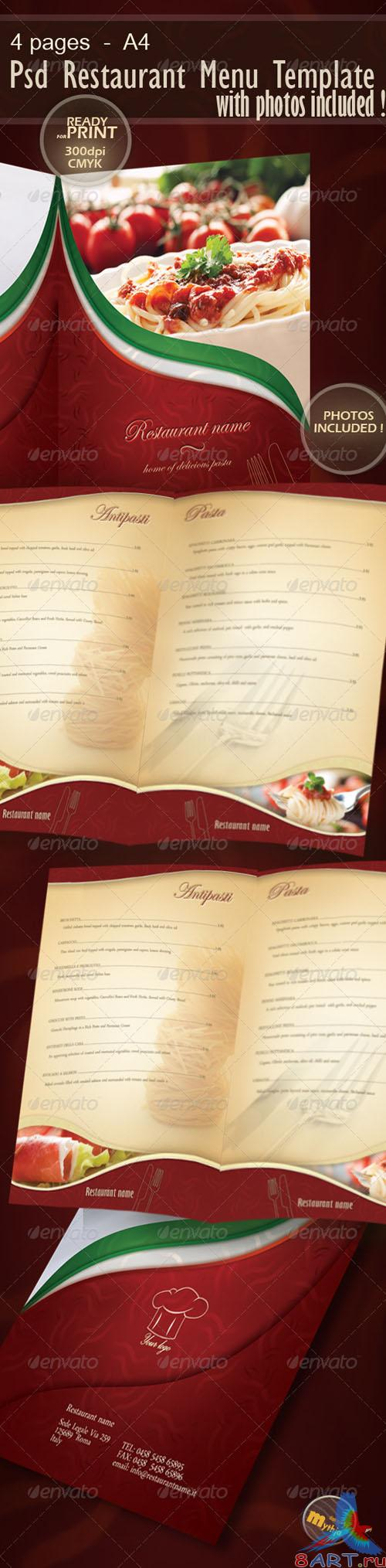 GraphicRiver - Restaurant Menu template with photos incuded 1176350