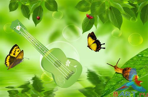 PSD - Green Guitar Template