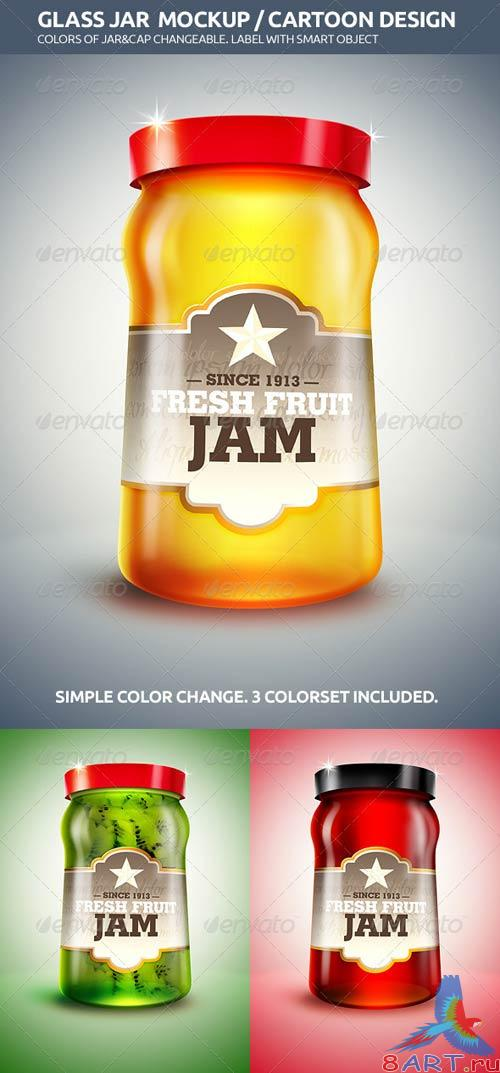 GraphicRiver Cartoon Design Glass Jar Mockup