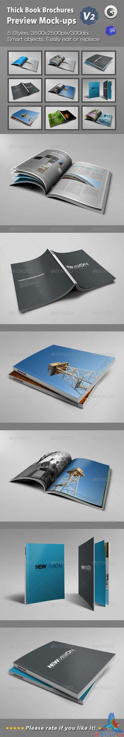 GraphicRiver - Thick Book Brochures Preview Mock-Ups V2 - 1866029