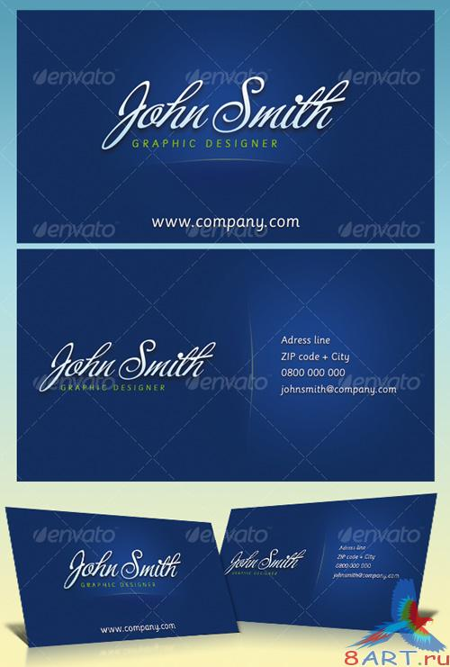 Blue business cards for graphic designers - GraphicRiver
