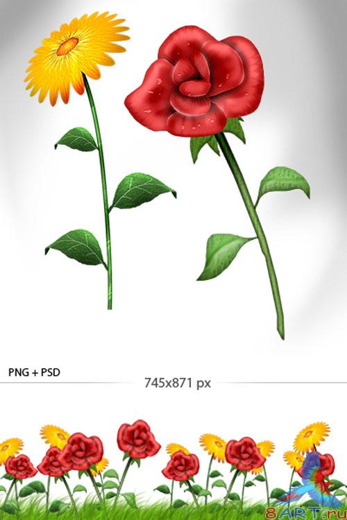Flowers Yand R Color PSD Template