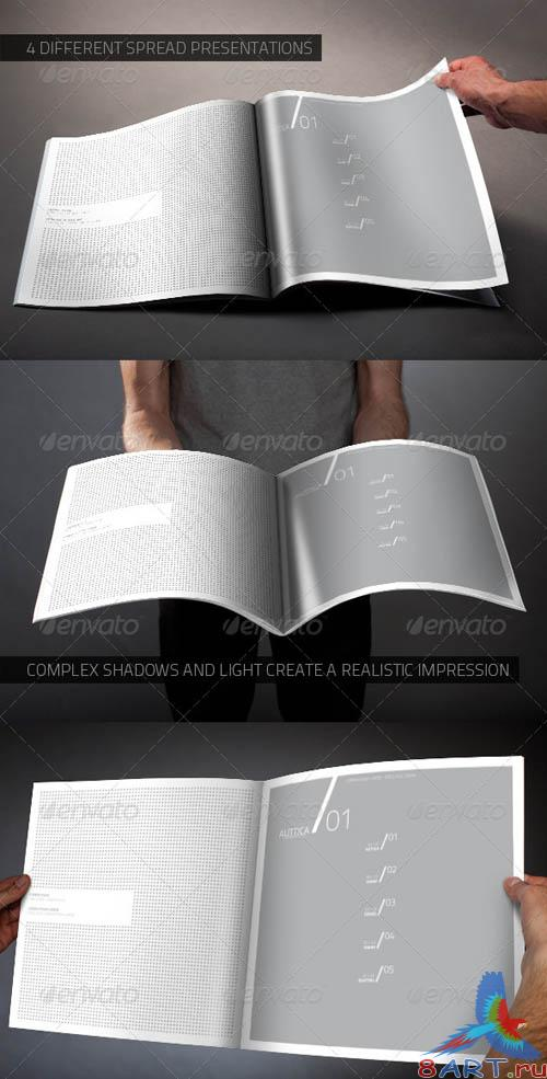 GraphicRiver Photorealistic Square Brochure Mock-up