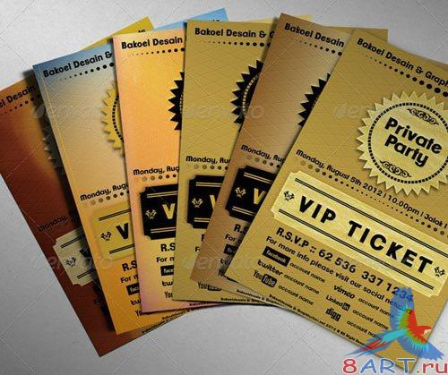 Golden VIP Ticket Showcase. PSD