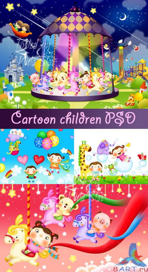 Cartoon children PSD