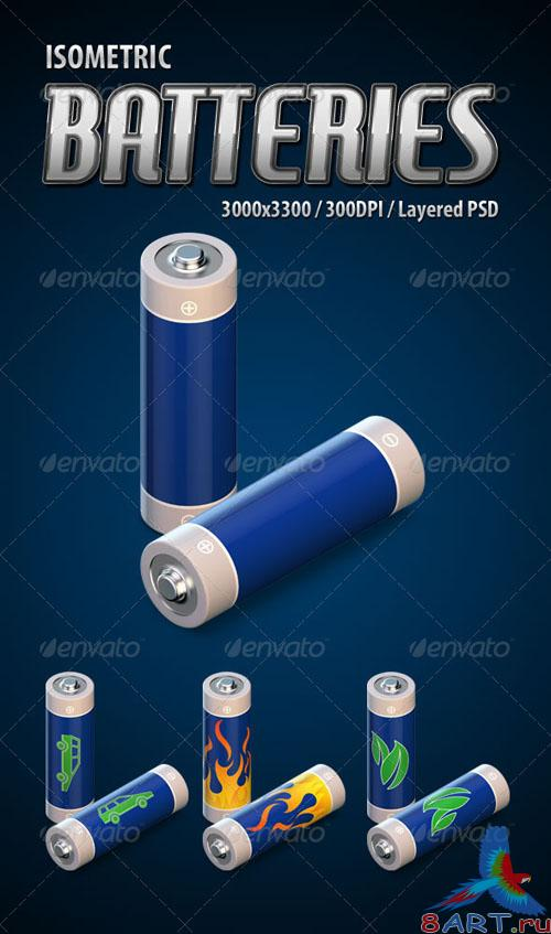 GraphicRiver - Isometric 3D Batteries 2393401