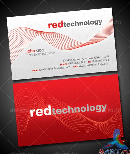 GraphicRiver - Red Technology Business Card