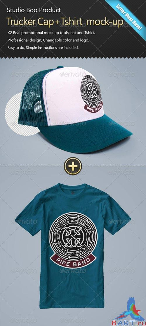 GraphicRiver Trucker Cap+Tshirt mock-up