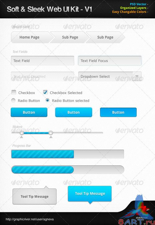 GraphicRiver - Soft & Sleek Web UI Kit