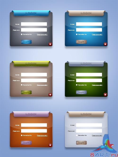 Login Boxes PSD