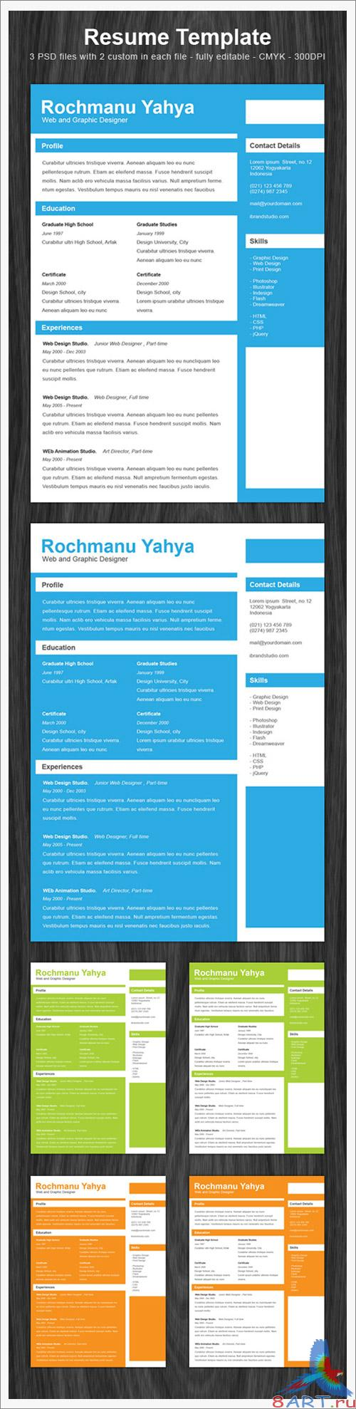 Clean one page resume PSD Template