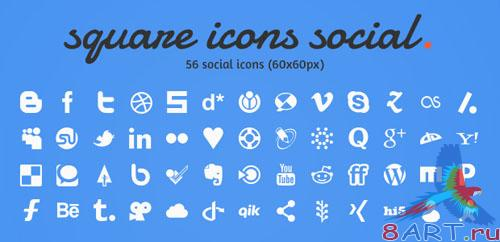 PSD Template - Social Square Icons