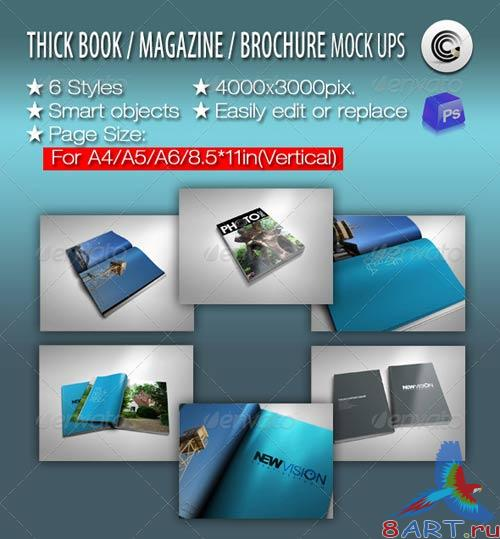 GraphicRiver Thick Book Magazine Brochure Mock-ups