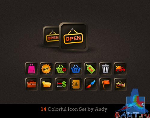 14 Colorful Icon Set by Andy