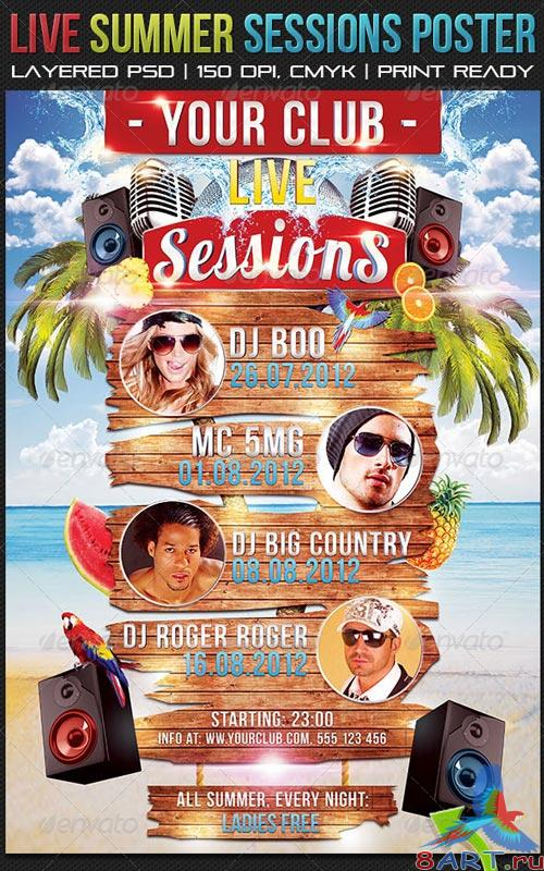 GraphicRiver Live Summer Sessions Poster 70 x 100 cm