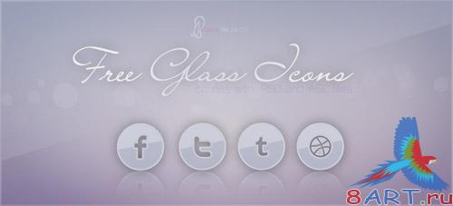 PSD Template - Glass Social Icons