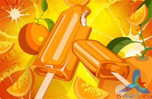PSD - Orange Ice Cream Template