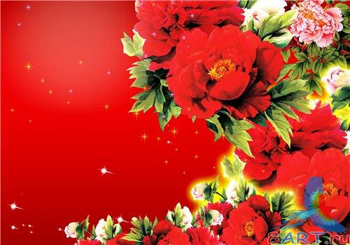 PSD - Red chrysanthemums and roses