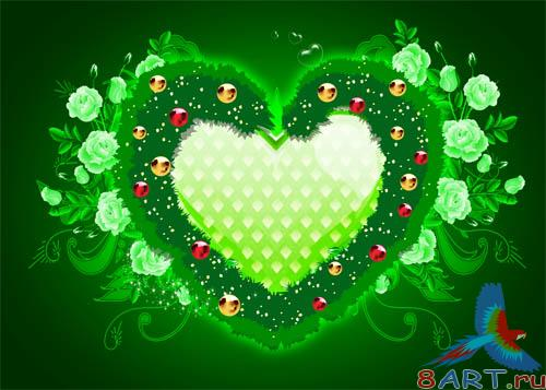 PSD - Green Heart Template