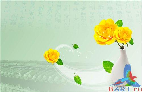PSD - Yellow Roses on green background