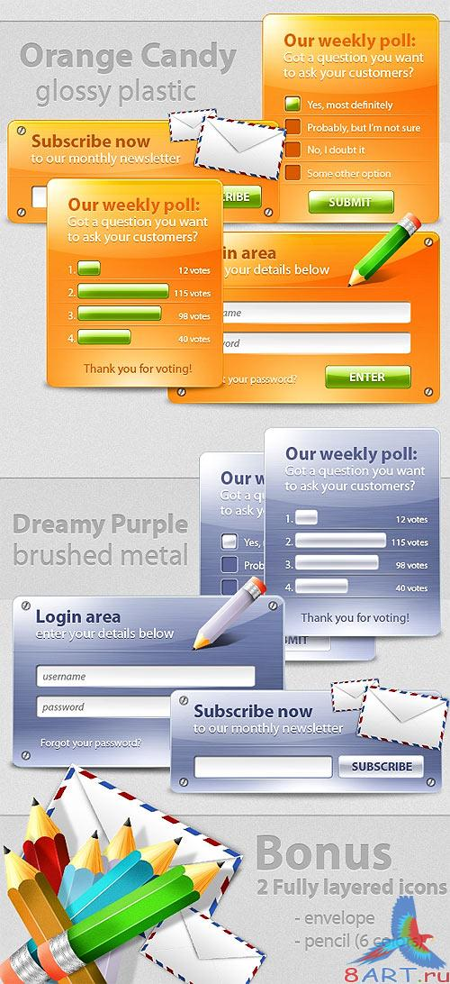Colored web boxes templates