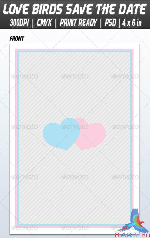 GraphicRiver Love Birds Save The Date