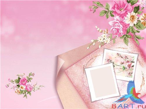 PSD - Fotos with pink flowers