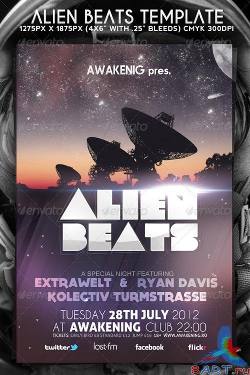 GraphicRiver Alien Beats Flyer Template