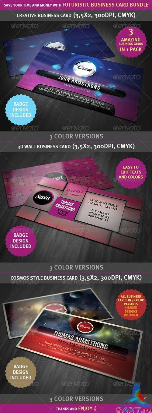 GraphicRiver - Futuristic and Creative Business Cards Bundle 2513482