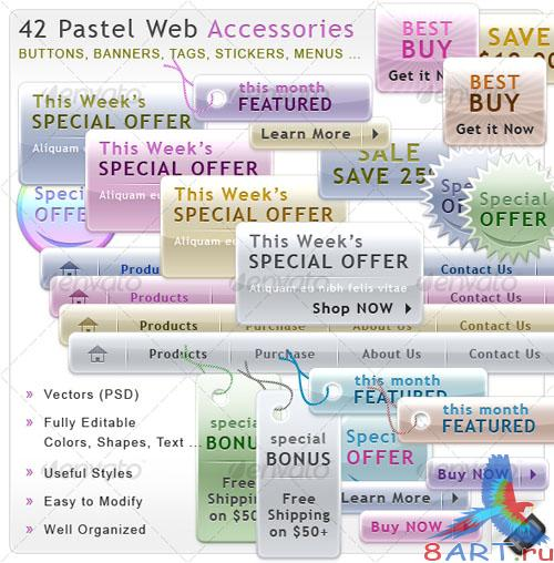 Pastel Web Accessories - GraphicRiver