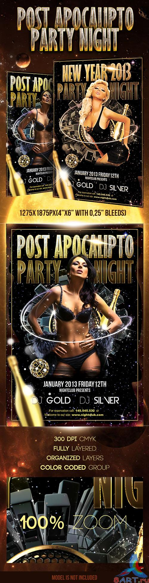 Post Apocalypto Party Flayer/Poster PSD Template